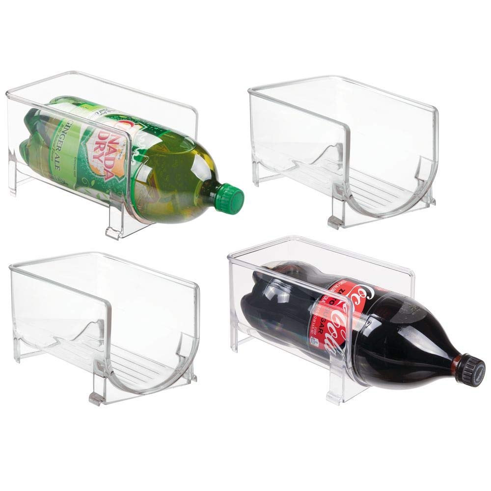 mDesign Large Stackable Kitchen Bin Storage Organizer Rack for Pop/Soda Bottles for Refrigerator, Pantry, Countertops and Cabinets - Holds 2-Liter Bottles - 4 Pack - Clear by mDesign