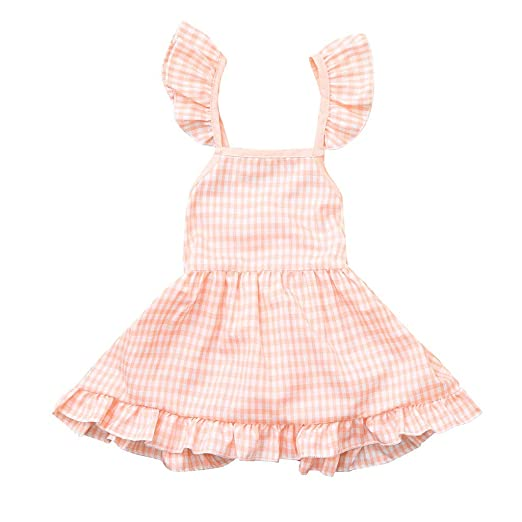 3c8855414ba7 Amazon.com  GorNorriss Baby Dress Summer Toddler Girls Kids Sleeveless  Plaid Floral Print Dress Clothes  Clothing