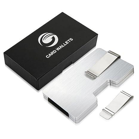 Mini Billetera Tarjetero, Dinero de Aluminio Billetera Clip con Bloqueo RFID, Cartera Hombre Slim