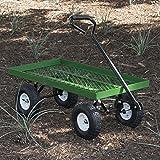 Cheap ARKSEN 1000 lb Flatbed Utility Garden Cart Padded Pull Handle, 10′ Pneumatic Tires All-Terrain Nursery Farm, 38″ x 20″
