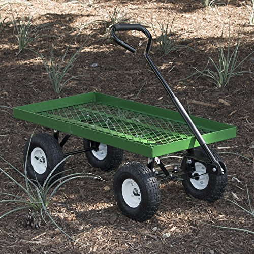 ARKSEN 1000 lb Flatbed Utility Garden Cart Padded Pull Handle, 10' Pneumatic Tires All-Terrain Nursery Farm, 38