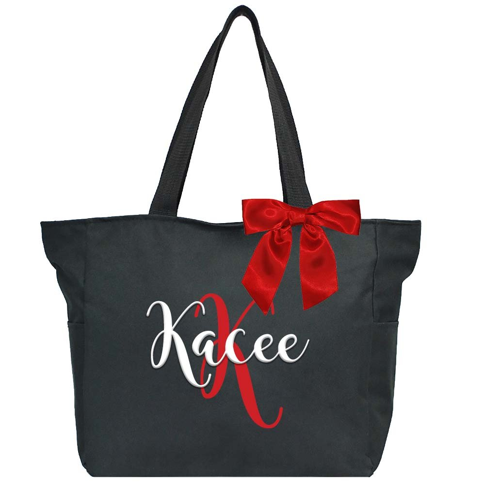Personalized Bridesmaid Bags Name with Initial and Matching Bow (Black)