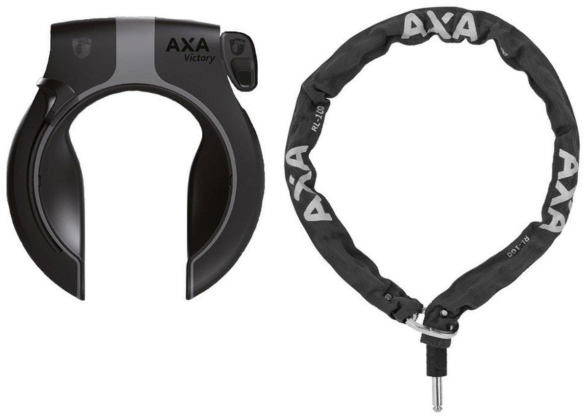 Axa Defender - Candado para marco de bicicleta de color negro y plateado, cadena de 1,00 m con bolsa