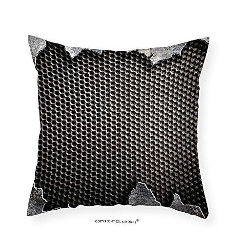 VROSELV Custom Cotton Linen Pillowcase Modern Grunge Metallic Background Digital Featured Cracked Futuristic Graphic Print for Bedroom Living Room Dorm Charcoal Grey 24