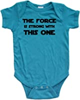 Apericots Cute Funny Nerd Geek Humor The Force Is Strong With This One Soft Baby Bodysuit
