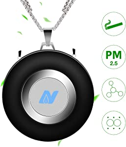 NULIPAM Personal Air Purifier Necklace, Wearable USB Portable Mini Air Purifier,USB Air Cleaner Negative Ion Generator Personal Air Freshener Low Noise for Adults Kids-Black