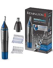 Remington NE3850 - Recortador facial, cuerpo exterior antimicrobiano, peines guia verticales para cejas, resistente al agua