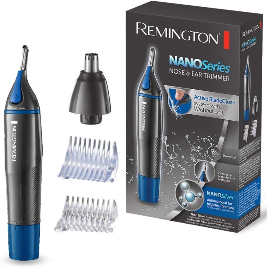 Remington Nano Series NE3850 – Cortapelos Nariz, Orejas, Cejas y Vello Facial, Resistente al Agua, Gris y Azul