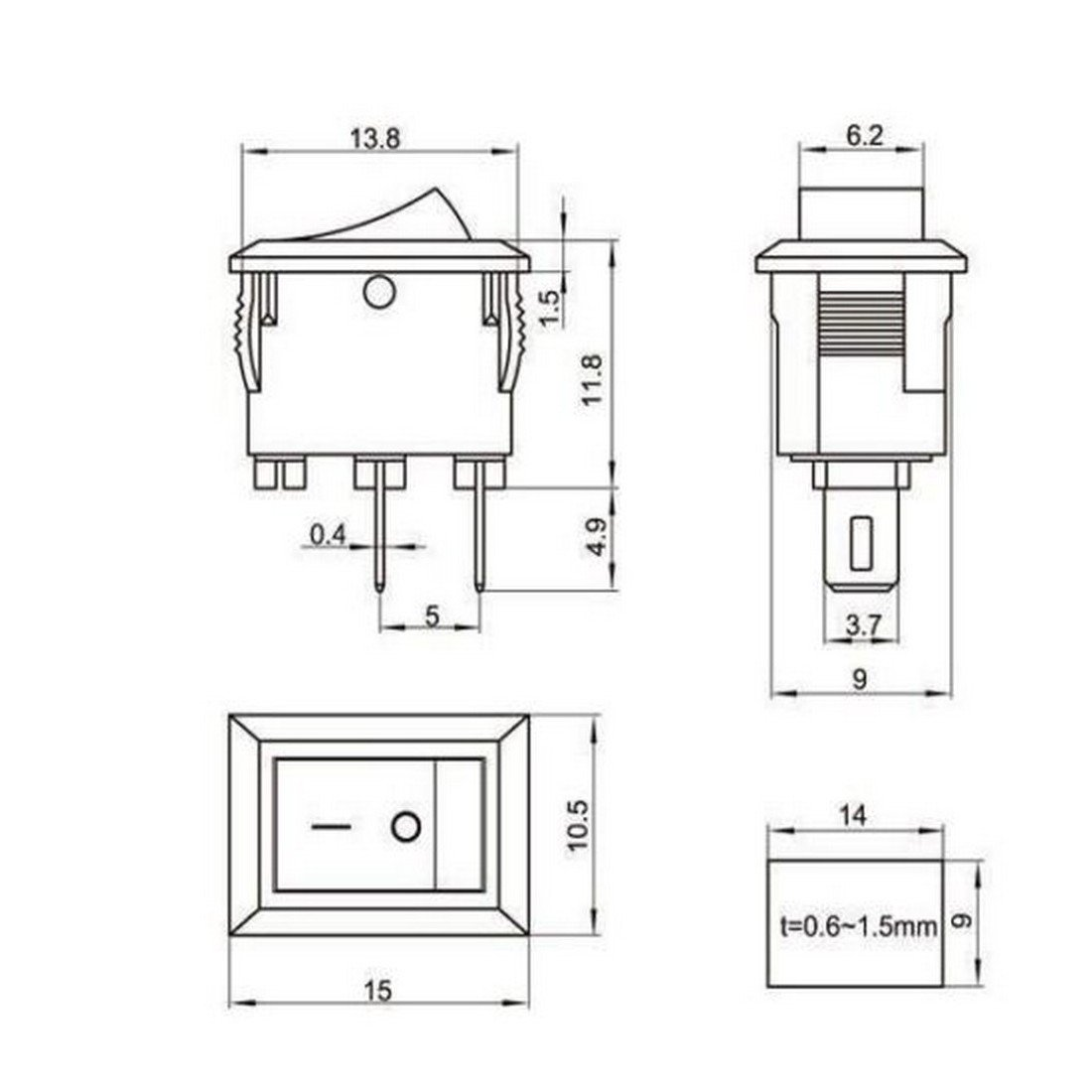 2 x Mini Wippschalter SPST – Kcd1 – 11 3 A 250 V 10 x 15 On/Off – 27 ...