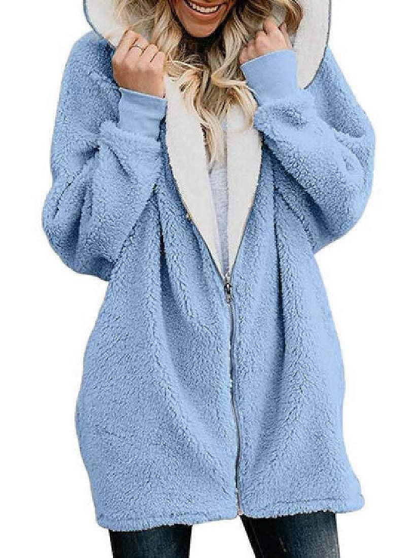 JXG Women Outdoor Hooded Fuzzy Winter Fleece Zipper Sweatshirt Jacket