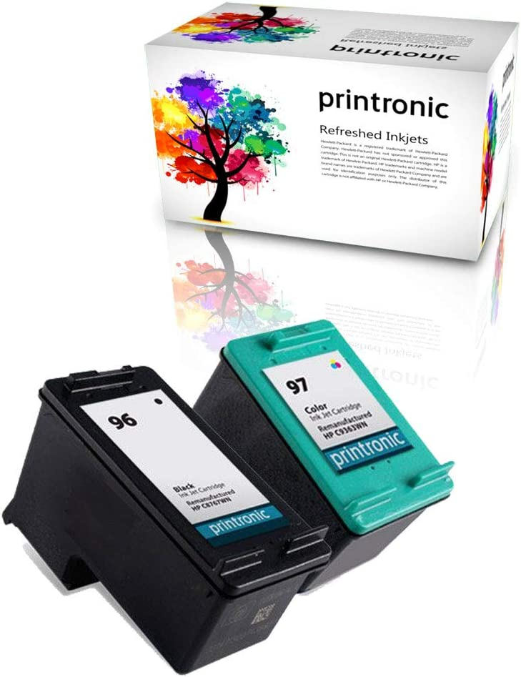 Printronic Remanufactured Ink Cartridge Replacement for HP 96 C8767WN HP 97 C9363WN (1 Black 1 Color)
