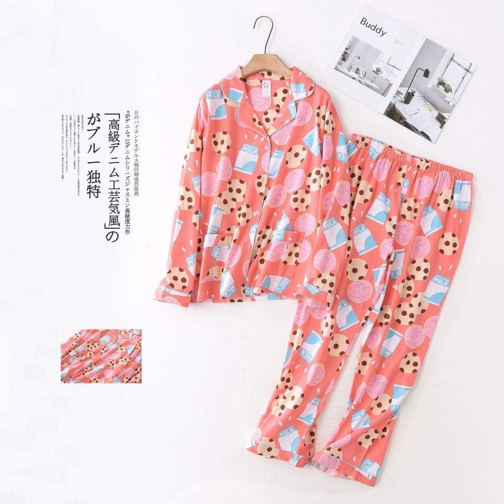 Conjuntos de Pijamas Casuales, Mujeres 100% algodón Cepillado de Manga Larga Dibujos Animados Frescos Sueltos Mujer Pijamas Tallas Grandes Pijamas Mujeres-PNCX-2_L: Amazon.es: Ropa y accesorios