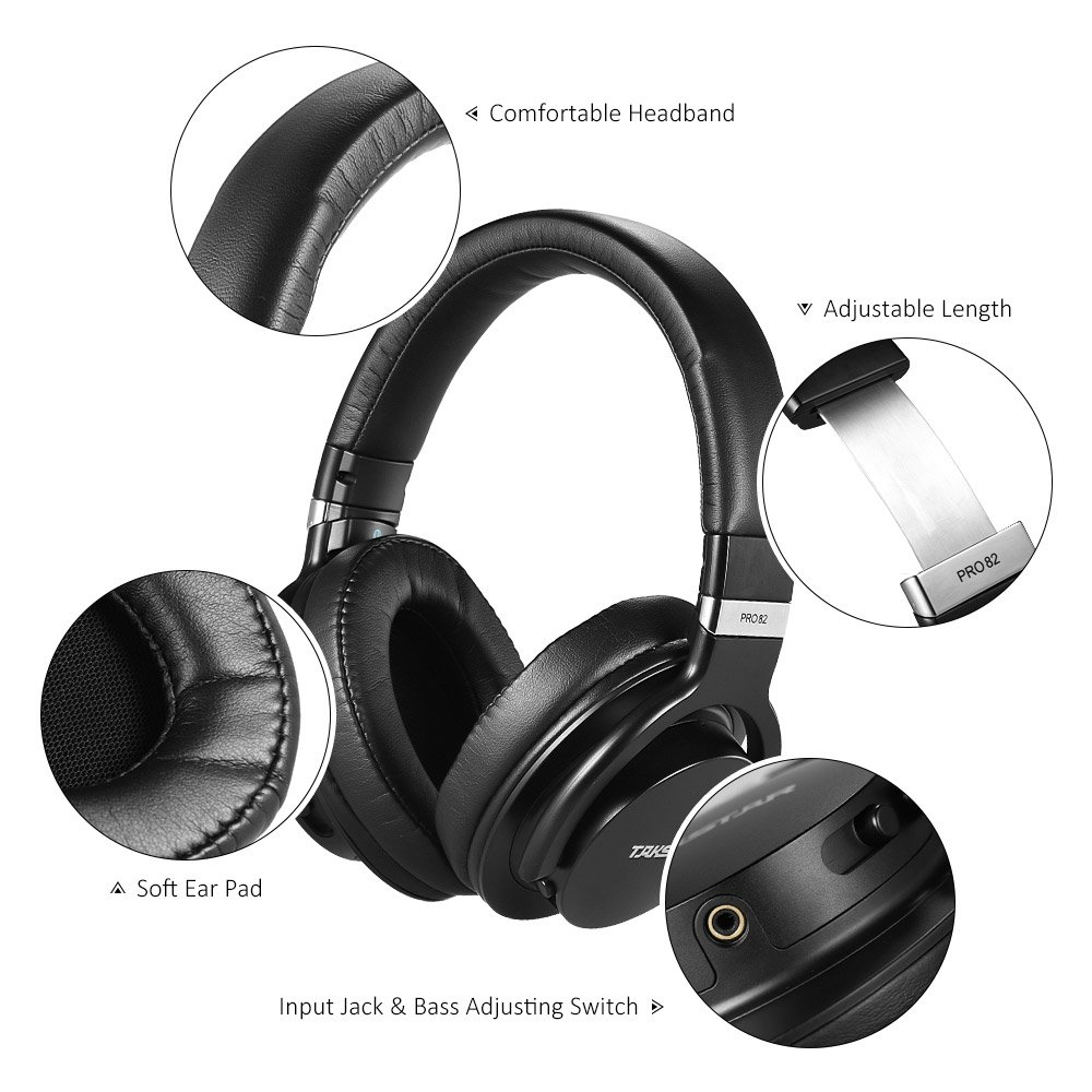 Aboodah TAKSTAR PRO 82 Professional Studio Dynamic Monitor Headphone Headset Over-ear for Recording Monitoring Music Appreciation Game Playing with Aluminum Alloy Case