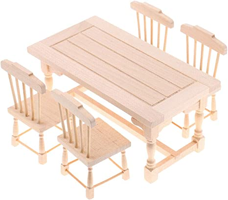 1//12 Scale Dolls House Miniature Wooden Dining Table Furniture Kitchen
