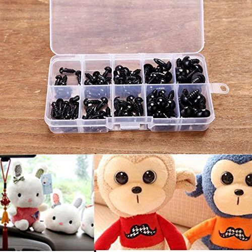 - 100pcs 6-12mm Environmental Plastic Black Eyes For Doll Animal Crafts Teddy Bear With Box