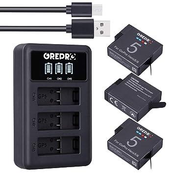 GREPRO Cargador 3 Pack Batería de Repuesto con Cargador Dual USB para GoPro Hero 5, Hero 5 Black AHDBT-501, Hero (2018), Hero 6 Black,Hero 7 Black
