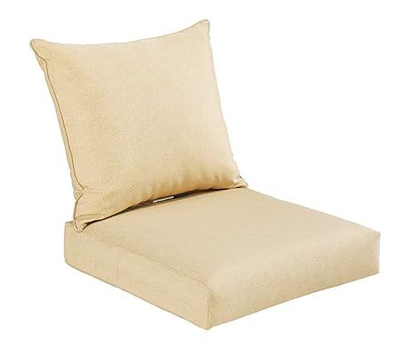 Superior Bossima Indoor/Outdoor Yellow/Cream/Beige Deep Seat Chair Cushion Set  Spring/