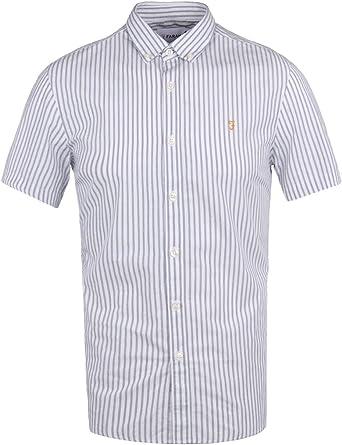 Farah Vintage Hombre Sydling Slim Fit a rayas camisa Shortsleeved, Azul: Amazon.es: Ropa y accesorios