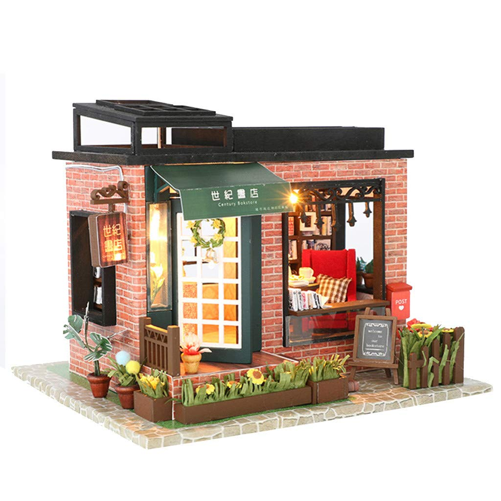Amazon.com: LtrottedJ 3D Wooden DIY Miniature House Furniture LED House Puzzle Decorate Creative Gifts (B): Toys & Games