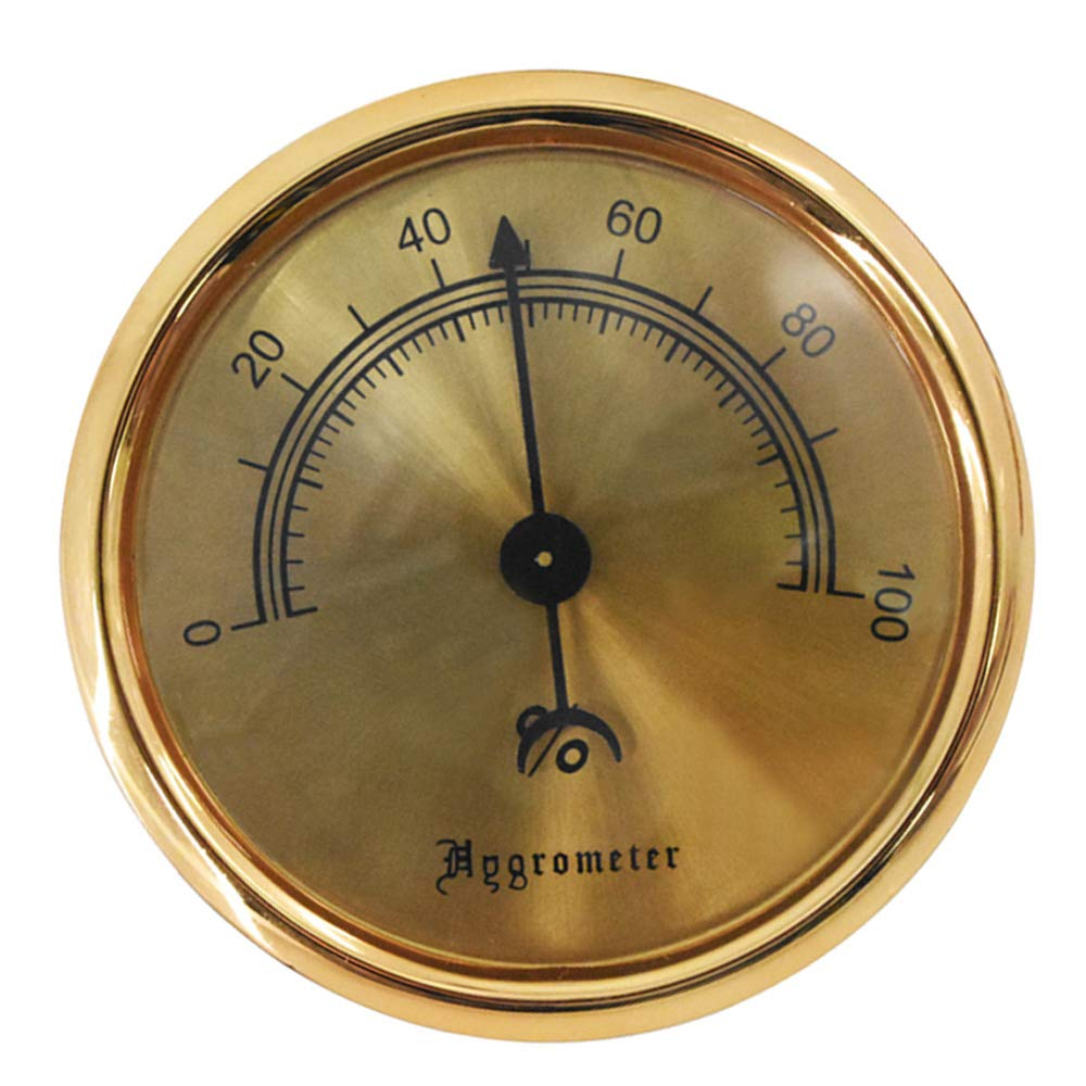 Cigar Hygrometer - Metal High Precision Round Analog Hygrometer with 3M Double Sided Tape - Size (2.95 * 2.95 * 0.6in) Gold by ASYPS