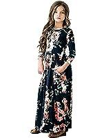 JYH Girls Maxi Dress, Floral Flared Sewing Pocket Three-Quarter Sleeves Long Dress Size 5-12
