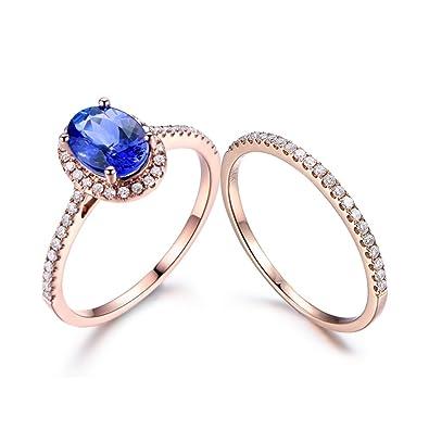 227bd6378 Amazon.com: MYRAYGEM-wedding ring sets 6x8mm Oval Natural Blue ...