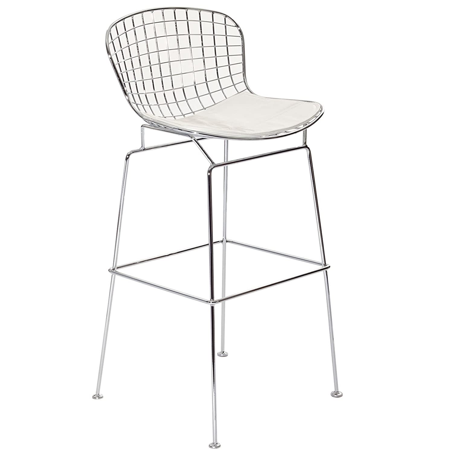 Amazon Modway Bertoia Style Stool with White Seat Cushion