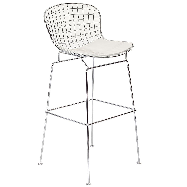amazoncom  modway bertoia style stool with white seat cushion  - amazoncom  modway bertoia style stool with white seat cushion  chairs