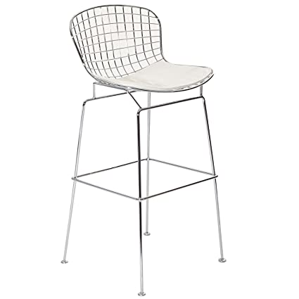 wholesale dealer d54d3 a9a81 Modway CAD Modern Wire Frame Faux Leather Upholstered Counter Bar Stool in  White