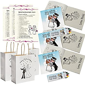 Wedding Activities for Kids - Individually Packaged Wedding Coloring Books and Crayons (12), Wedding Favor Bags (12) and Wedding Scavenger Hunt Sheets ...