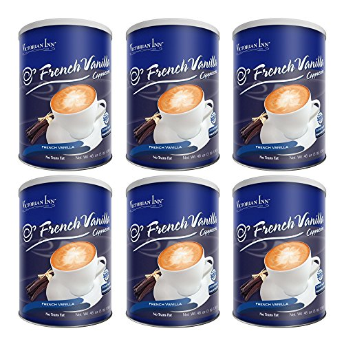 Victorian Inn Instant Cappuccino, French Vanilla, 48-Ounce Canisters (Pack of 6)