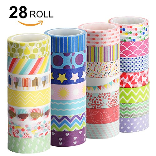 Washi Tape Set, UnityStar 28 Rolls Washi Masking Tape 0.59INCH/15MM Wide Decorative Craft Tape with Carrying Bag for DIY, Crafts, Gift-wrapping, Scrapbooking, Planners and Home Decorations