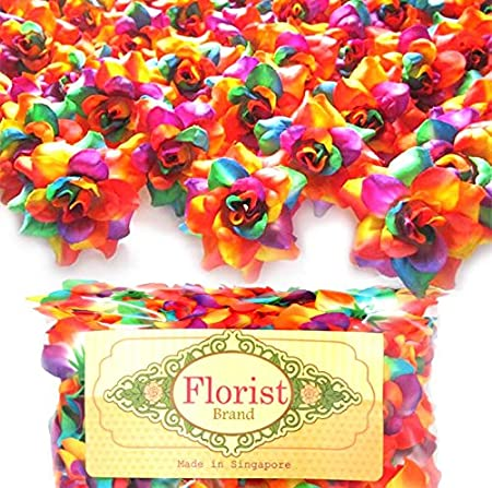 "(100) Silk Rainbow Roses Flower Head 1.75"" Artificial Flowers Heads Fabric Floral Supplies"