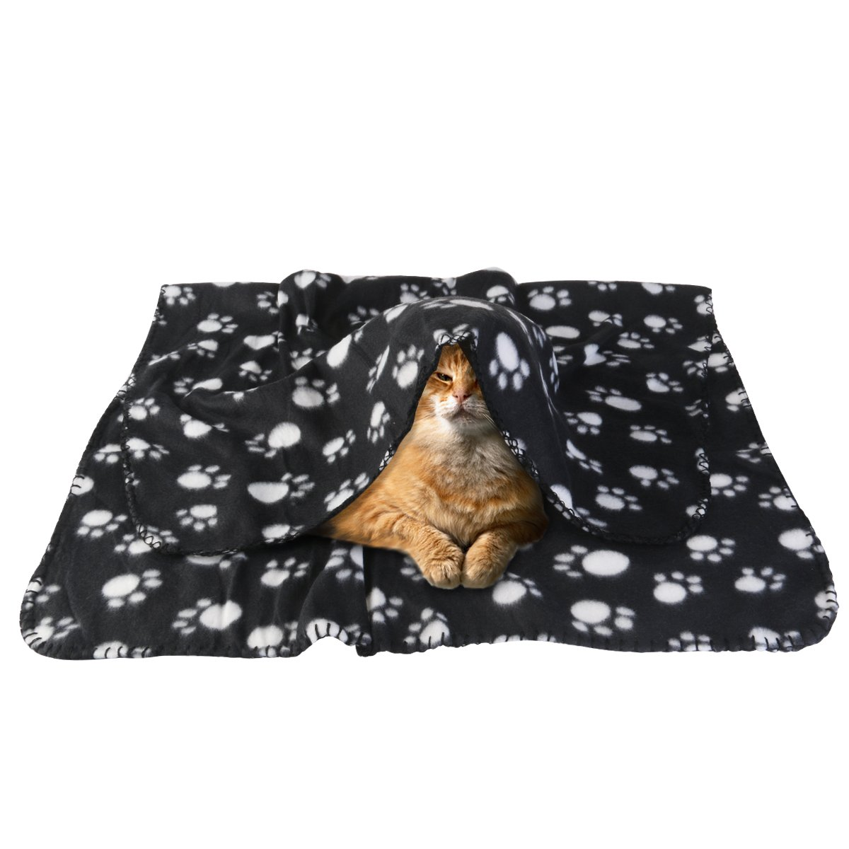 Amazon.com: UEETEK Pet Blanket,Soft Warm Paw Print Fleece Throw Blanket Mat Sleeping Bed Cover for Dog Cat Pets,3927inch(Black): Home & Kitchen