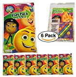 6 Pack The Emoji Movie, Grab n Go Play pack Includes 25 stickers and 4 crayons & 24 page Activity / Coloring book for the Ultimate Party favors