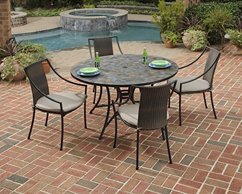 (Home Styles 5601-36802 Stone Harbor 5-Piece Dining Set with Table and Laguna Arm Chairs, Black Finish, 51-Inch)