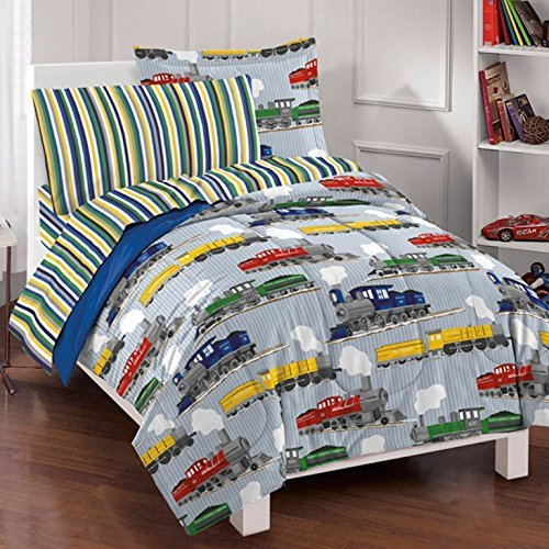Dream Factory Trains Mini Bed in a Bag Bedding Set
