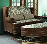 Chelsea Home Furniture Cornelious Settee, Voyager Cobblestone/Brown Eyed Girl with 2 20'' x 11'' kidney Pillows included