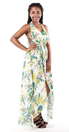 6fa857ec366 Amazon.com  Women s V Neck Floral Chiffon Maxi Dress Overlay Rompers ...