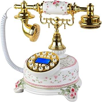 TangMengYun Moda Tallado Teléfono Fijo Antiguo Teléfono Fijo Continental Pastoral Retro Vintage Teléfono inalámbrico for el hogar móvil Blanco: Amazon.es: Electrónica