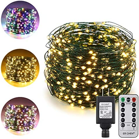 ErChen Dual-Color LED String Lights, Green Copper Wire Plug in 165 FT 500 LEDs Dimmable Fairy Lights with UL Adapter Remote Timer 8 Modes for Christmas Party Wedding Multicolor Warm White