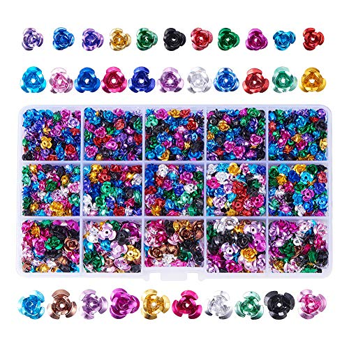 PandaHall Elite 1500 Pcs Aluminum Rose Flower Tiny Metal Spacer Beads Diameter 6mm 7mm 12mm for Jewelry Making Mixed Colors