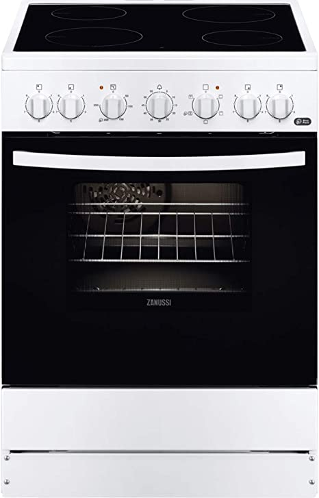 Zanussi ZCV65201WA Cocina independiente 85 x 60 x 60 cm, con placa vitrocerámica de 4 zonas, horno y grill eléctricos, multifunción de 5 programas, ...