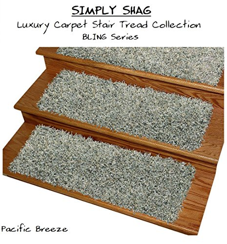 "9''x27'' SIMPLY SHAG Luxury Carpet Stair Tread Collection ""Bling Series''