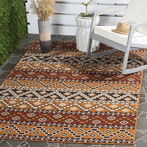 Southwestern Patio Furniture - Safavieh Veranda Collection VER095-0332 Indoor/ Outdoor Red and Chocolate Contemporary Southwestern Area Rug (5'3