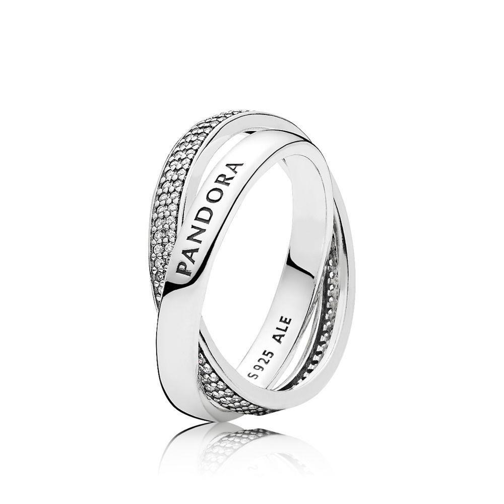 PANDORA Promise Ring, Clear CZ 196547CZ-56 EU 7.5 US
