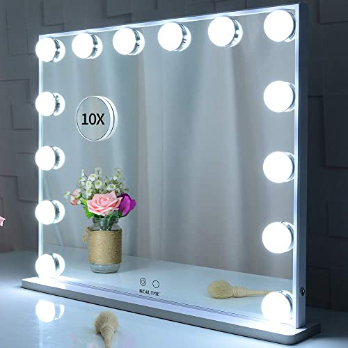 BEAUTME Lighted Vanity Mirror with 14 Led Bulbs Lights Replaceable,Hollywood Style Makeup Cosmetic Mirrors with Touch Control Design, Tabletop or Wall Mounted Vanity Mirrors White