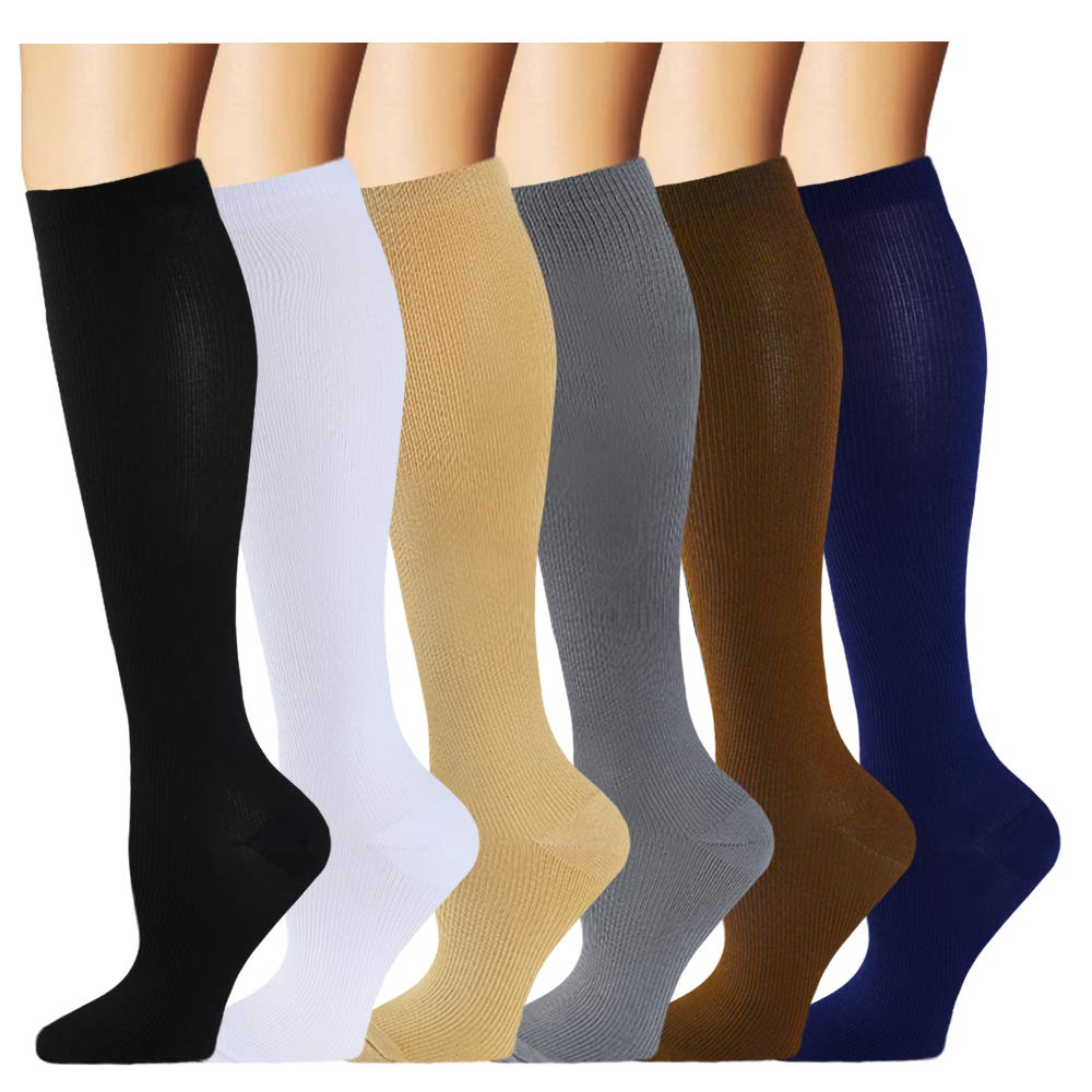 Compression Sock for Women & Men (6 Pairs)- Best Medical for Running, Athletic Sports, Crossfit, Fitness(S/M) by Iseasoo