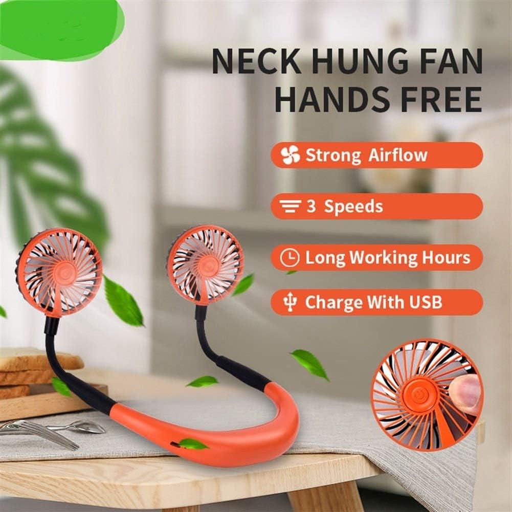 Ventilatore portatile staccabile portatile collo ventilatore USB a 360 ° universale multifunzione Regolazione scrivania ventilatore (Color : Pink) Arancia