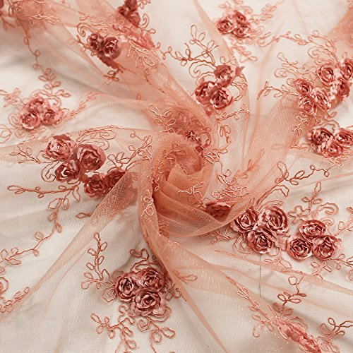 Scallop Edge Double (Corded Lace Fabric with Matte Coral Floral Embroidery Beaded Lace with Double Scallop Edge Wedding)